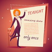 picture of cabaret  - Circus Show Host Lady girl in Suit with Cane Icon on Stylish Background Retro Cartoon Design Vector Illustration - JPG
