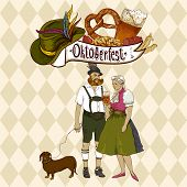 foto of pretzels  - Oktoberfest celebration Oktoberfest celebration design with Bavarian hat - JPG