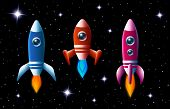 picture of spaceships  - Three brightly colored vector rockets in outer space with turbo boost and flames as they speed through the dark starry sky  set of three different spaceships for kids illustrations - JPG
