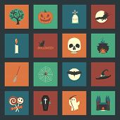 pic of funny ghost  - Halloween flat icons set vector graphic illustration design - JPG