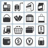 picture of bartering  - set of 16 shopping and e commerce  icons - JPG