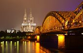 stock photo of koln  - Cologne at night  - JPG