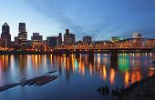 stock photo of portland oregon  - A view of Portland Oregon at dusk - JPG