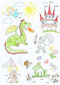 picture of prince charming  - Vector sketches with characters of fairy - JPG
