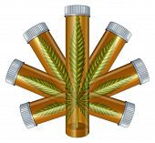 stock photo of marijuana leaf  - Medical Marijuana concept as a prescription medicine bottle in the shape of a cannabis leaf as a medical alternative symbol for the legal use of herbal drugs isolated on a white background - JPG