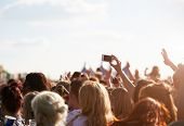 stock photo of audience  - Audience At Outdoor Music Festival - JPG