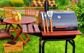 foto of bbq party  - BBQ Summer Garden Party Scene In The Backyard