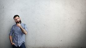 pic of hooligan  - Bearded man thinking - JPG