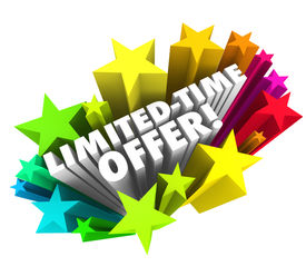 picture of time-saving  - Limited Time Offer words 3d white letters colorful stars advertising a special savings deal - JPG
