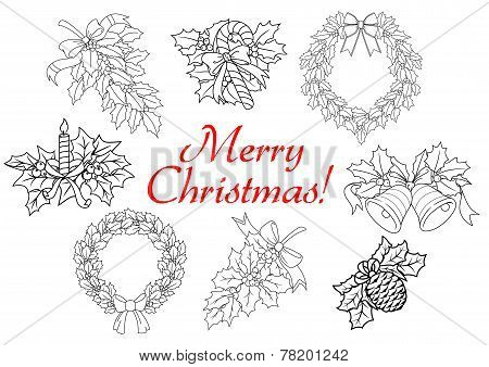 Christmas and New Year holiday decorations set