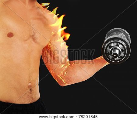 Young muscular sportsman execute exercise with dumbbell on black background