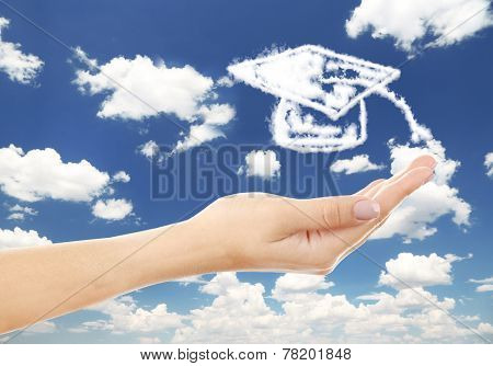 Grad hat clouds shape floating on hand