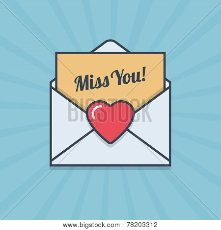 Miss You letter with heart shape in flat style.