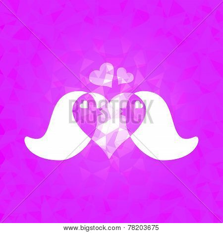 In Love Couple Birds On Pink Dazzled Triangle Background