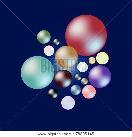 Color Of Pearl Samples On Dark Blue Background