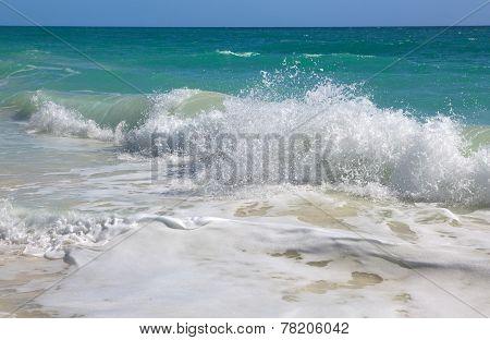 Waves of the Caribbean Sea. Playa los Cocos. Cayo Largo. Cuba.