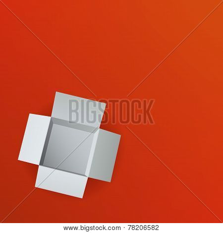 Open box on red background. Top view. Vector illustration