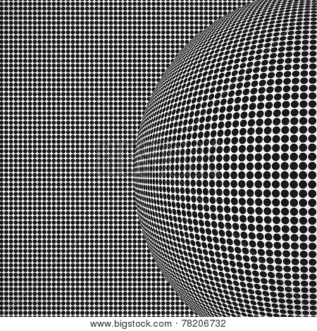 Radial halftone background with sphere
