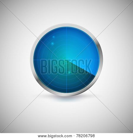 Radial screen of blue color with targets.
