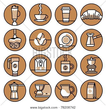 Coffee icons brown line set