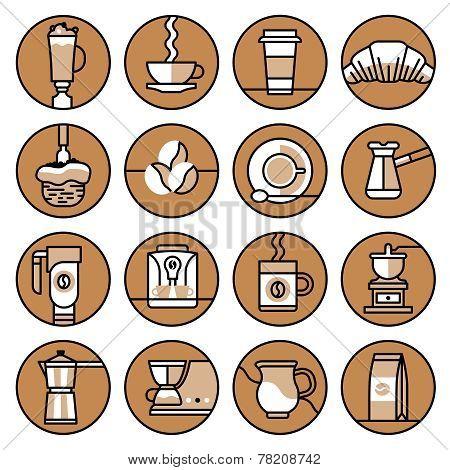 Coffee icons brown line set