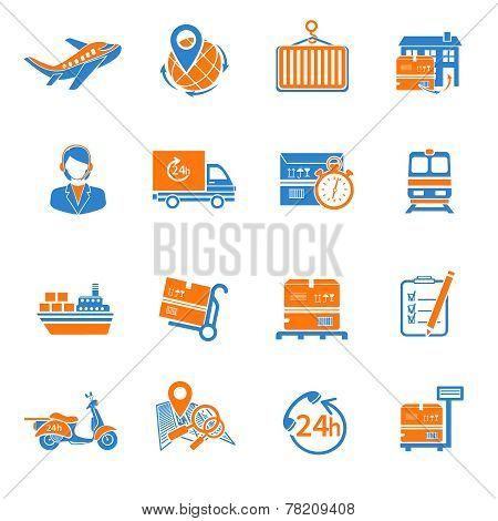 Logistic icons set orange