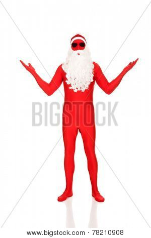 Full length santa in latex clothing showing copyspace.