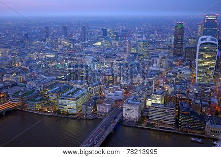 London rooftop view panorama at sunset with urban architectures and Thames River