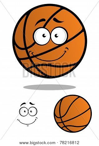 Smiling basketball ball cartoon mascot
