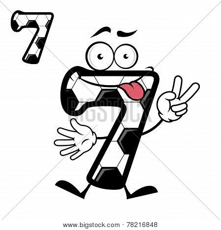 Funny number seven with victory sign