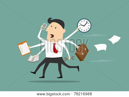 Multitasking businessman running flat concept
