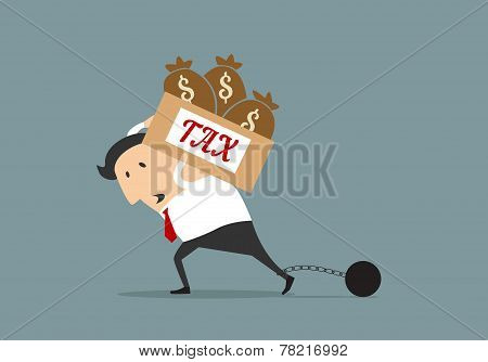 Businessman with heavy tax burden concept