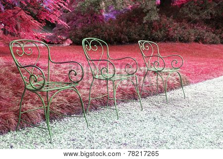 Three Chairs And Lawn Red
