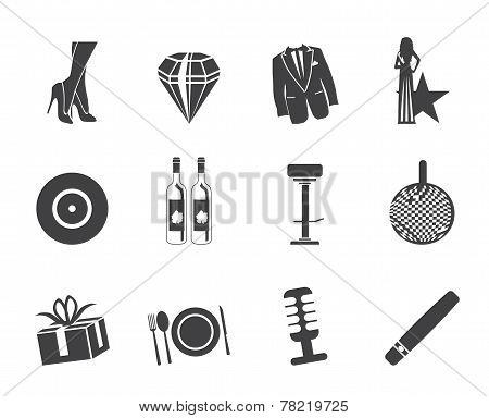 Silhouette Luxury party and reception icons