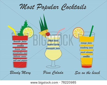 Vector popular cocktails including the composition