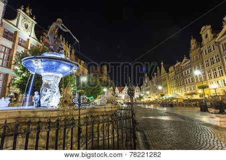 Neptune Fountain At Gdansk Main Street Called Dluga