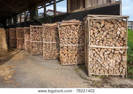 Firewood racks in a barn