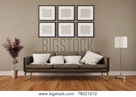 Wall with six empty picture frames in living room under a sofa (3D Rendering)