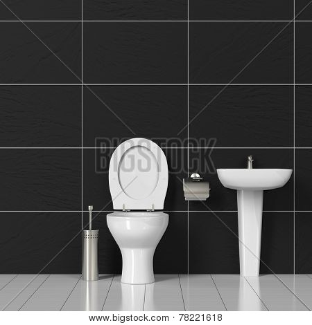 Toilet and sink in a WC bathroom with black tiles (3D Rendering)