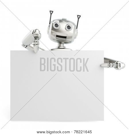 3D robot holding empty white billboard sign for a presentation (3D Rendering)