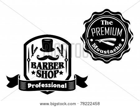 Vintage barber shop designs set