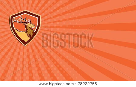 Business Card Deer Stag Buck Head Shield Retro