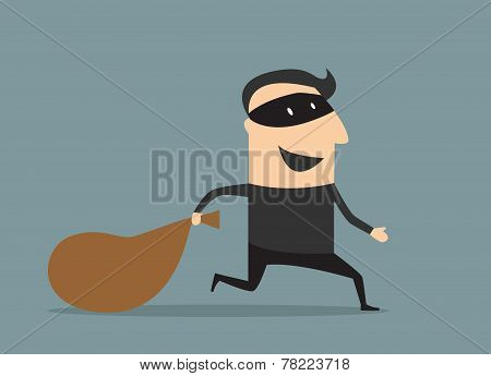 Cartoon thief in mask with sack