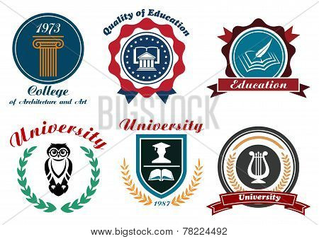 Vintage university and college logotype