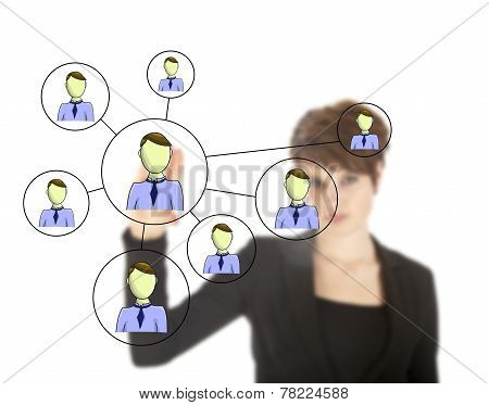 Businesswoman With Online Friends Network Isolated On White Background
