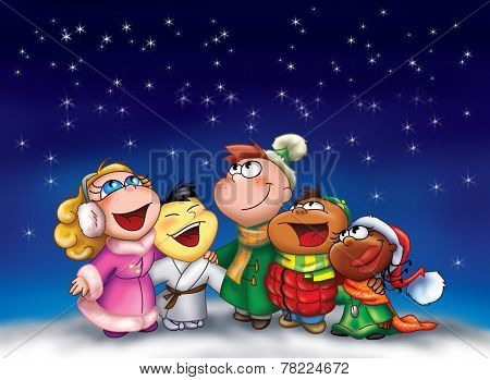 Happy kids singing at Christmas