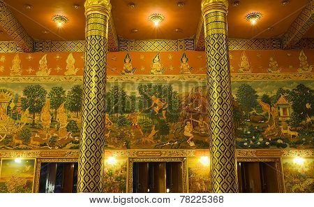 Thai Mural Painting About Buddha's History In Public Temple