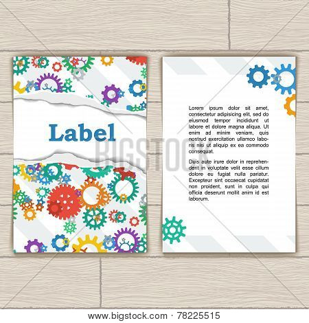 Card with Gears and Torn Paper