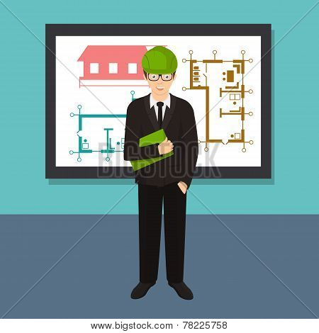 Civil professional mechanical science engineering concept flat