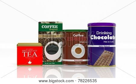 3D collection of beverages packaging isolated on white background